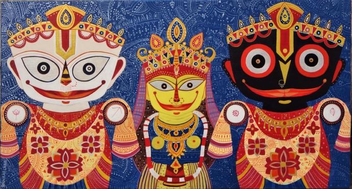 Triratna 3 by Bhaskar Lahiri, Traditional Painting, Acrylic on Canvas, Brown color