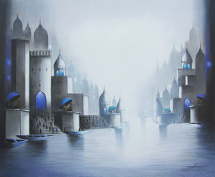 Holy Banaras by Somnath Bothe, Impressionism Painting, Charcoal on Canvas, Cyan color