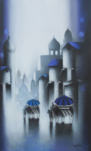 Rhythmic Monsoon Ride by Somnath Bothe, Impressionism Painting, Charcoal on Canvas, Blue color