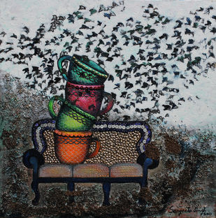 Tea Time by Sangeeta Singh, Expressionism Painting, Mixed Media on Canvas, Gray color