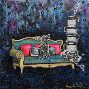 Tea Time by Sangeeta Singh, Expressionism Painting, Mixed Media on Canvas, Blue color