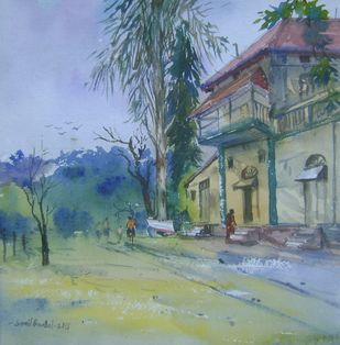 landscape by Sunil Bambal, Impressionism Painting, Watercolor on Paper, Green color