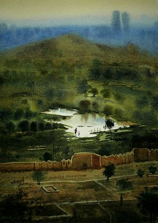 Top view by Sayyad Sohel, Impressionism Painting, Watercolor on Paper, Green color