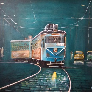 Calcutta Nostalgia by Avanish Trivedi, Expressionism Painting, Acrylic on Canvas, Green color