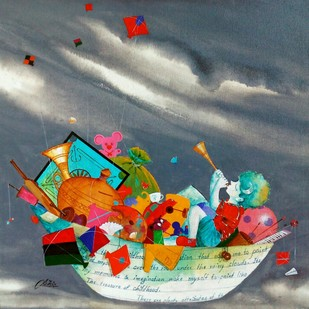 Treasure of the childhood iii by shiv kumar soni, Expressionism Painting, Acrylic on Canvas, Green color
