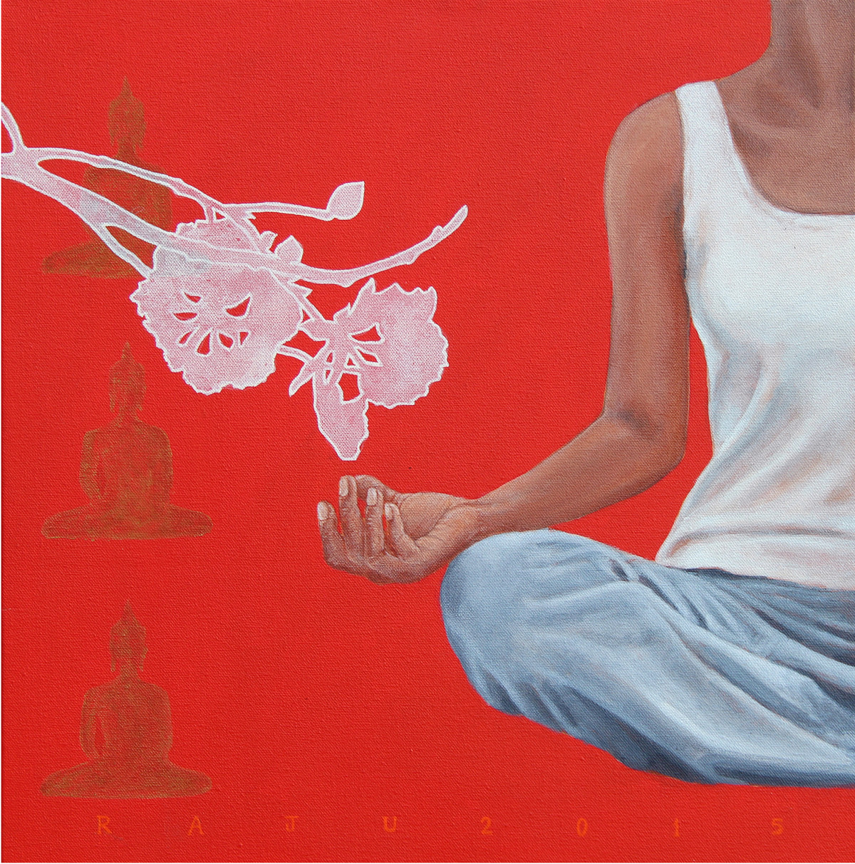 meditetion 40 by Raju Sarkar, Expressionism Painting, Acrylic on Canvas, Red color