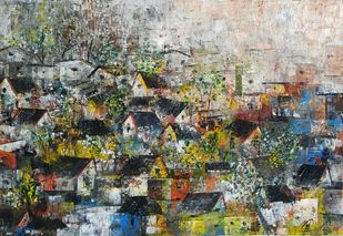 The Village houses by M Singh, Geometrical Painting, Acrylic on Canvas, Gray color