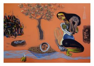 The Women by Mahesh Pal Gobra, Expressionism Painting, Acrylic on Canvas, Brown color
