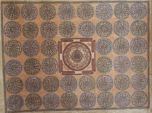 Laxmi Yantra by Sanjeev Kumar Jha, Folk Painting, Natural colours on paper, Brown color