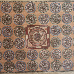 Laxmi Yantra by Sanjeev Kumar Jha, Folk Painting, Natural colours on paper, Brown color