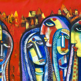 banaras by Arun K Mishra, Expressionism Painting, Acrylic on Canvas, Brown color