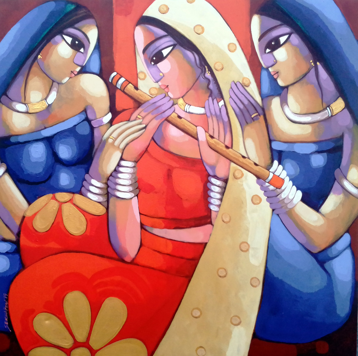 Bengali tune by Sekhar Roy, Decorative Painting, Acrylic on Canvas, Brown color