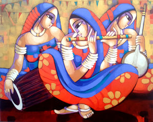 Music by Sekhar Roy, Decorative Painting, Acrylic on Canvas, Brown color
