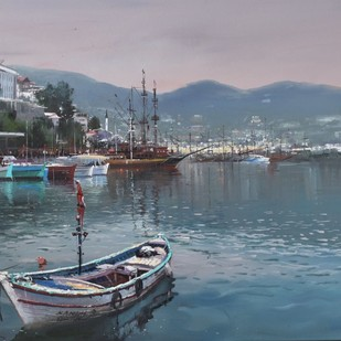 Alanya Waterfront - Turkey by Bijay Biswaal, Impressionism Painting, Acrylic on Canvas, Green color