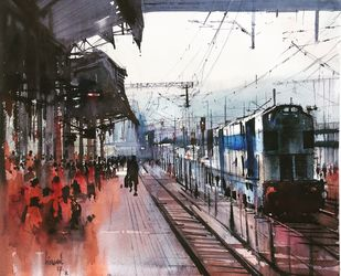 Pashupatinath Series by Bijay Biswaal, Impressionism Painting, Watercolor on Paper, Grey color