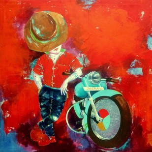 Passion of the childhood xv by shiv kumar soni, Expressionism Painting, Acrylic on Canvas, Red color
