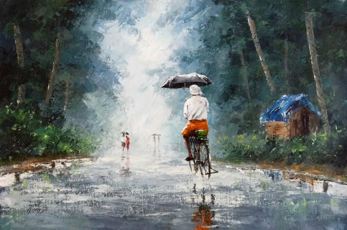 Rainy Day By Artist Sunil Linus De Impressionism