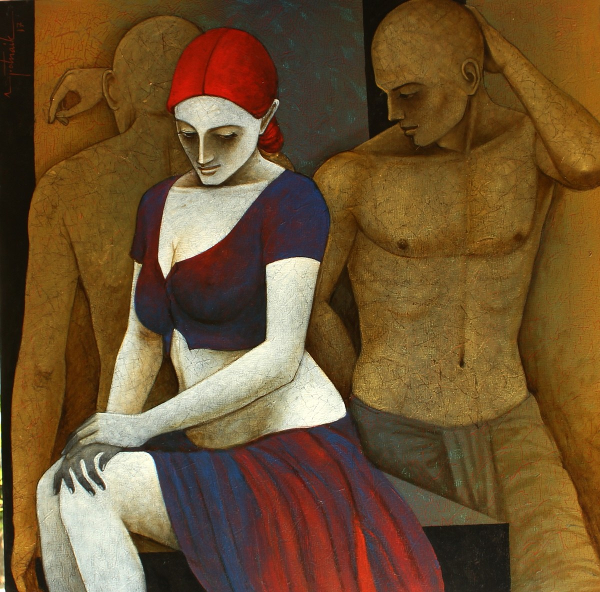 Assessments Interludes by Asit Kumar Patnaik, Expressionism Painting, Oil & Acrylic on Canvas, Brown color