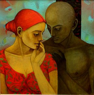 Silent Whispers by Asit Kumar Patnaik, Expressionism Painting, Oil & Acrylic on Canvas, Brown color