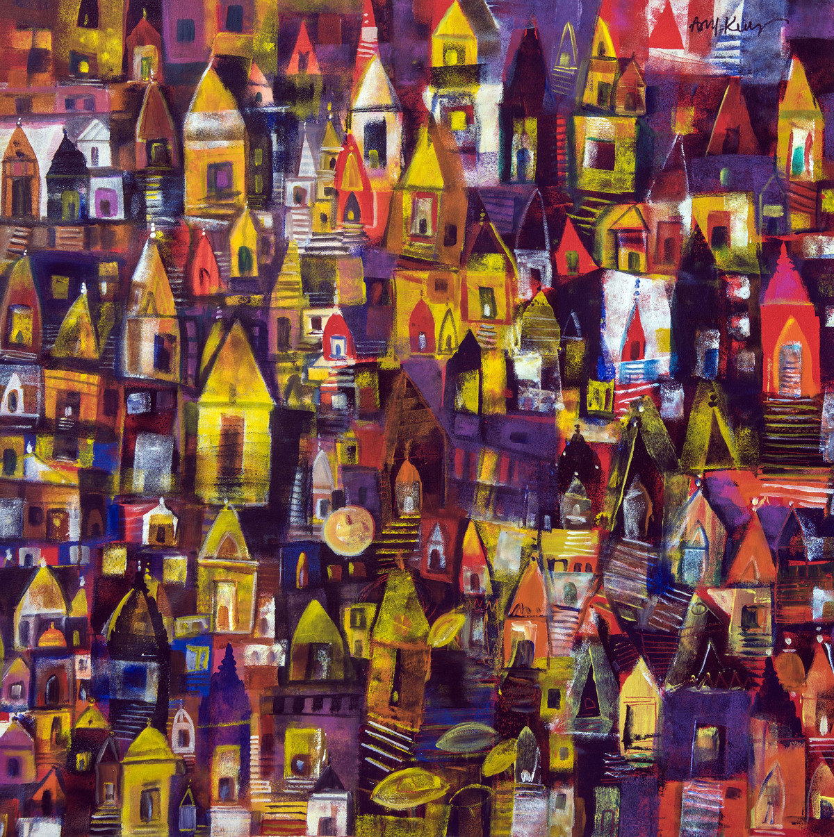 banaras ghat by Arun K Mishra, Expressionism Painting, Acrylic on Canvas, Brown color