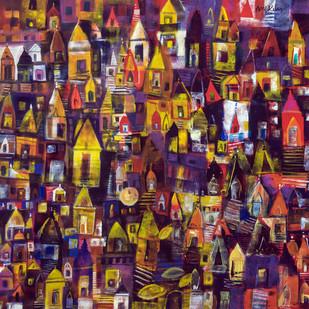 banaras ghat Digital Print by Arun K Mishra,Expressionism
