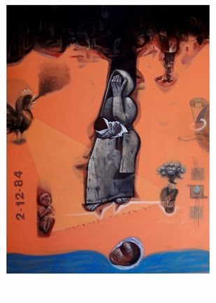 Mother & Child by Mahesh Pal Gobra, Expressionism Painting, Acrylic on Canvas, Brown color