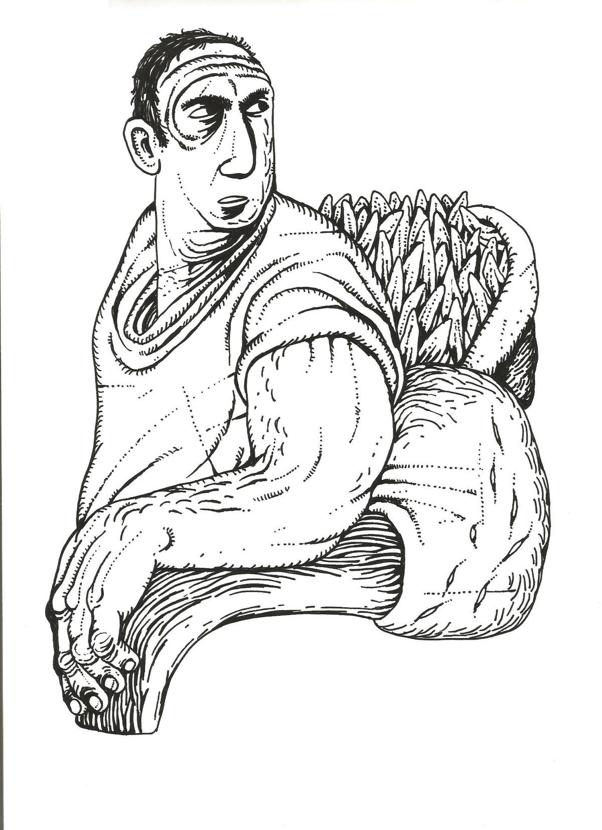 Untitle by Nitin Kushwaha, Illustration Drawing, Ink on Paper, White color