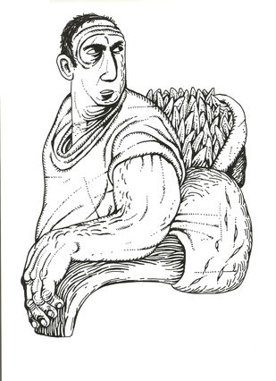 Untitle by Nitin Kushwaha, Illustration Drawing, Ink on Paper, White color