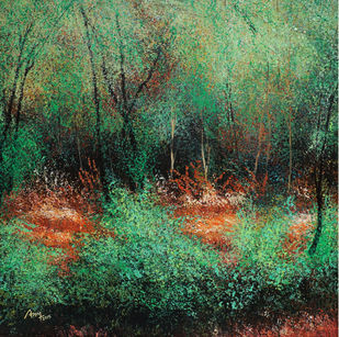 The Shady Roof of the Forest by Vimal Chand, Impressionism Painting, Acrylic on Canvas, Green color