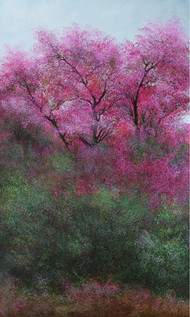 Luminous petals of silver by Vimal Chand, Impressionism Painting, Acrylic on Canvas, Purple color