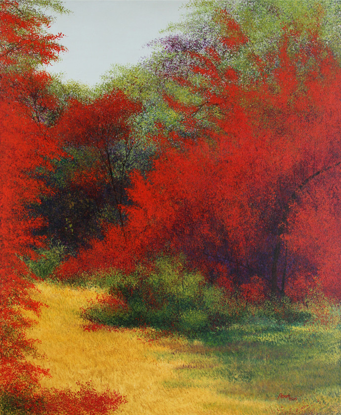 Beauty of Flora by Vimal Chand, Impressionism Painting, Acrylic on Canvas, Brown color