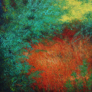 Leafy dome of the forest by Vimal Chand, Impressionism Painting, Acrylic on Canvas, Green color