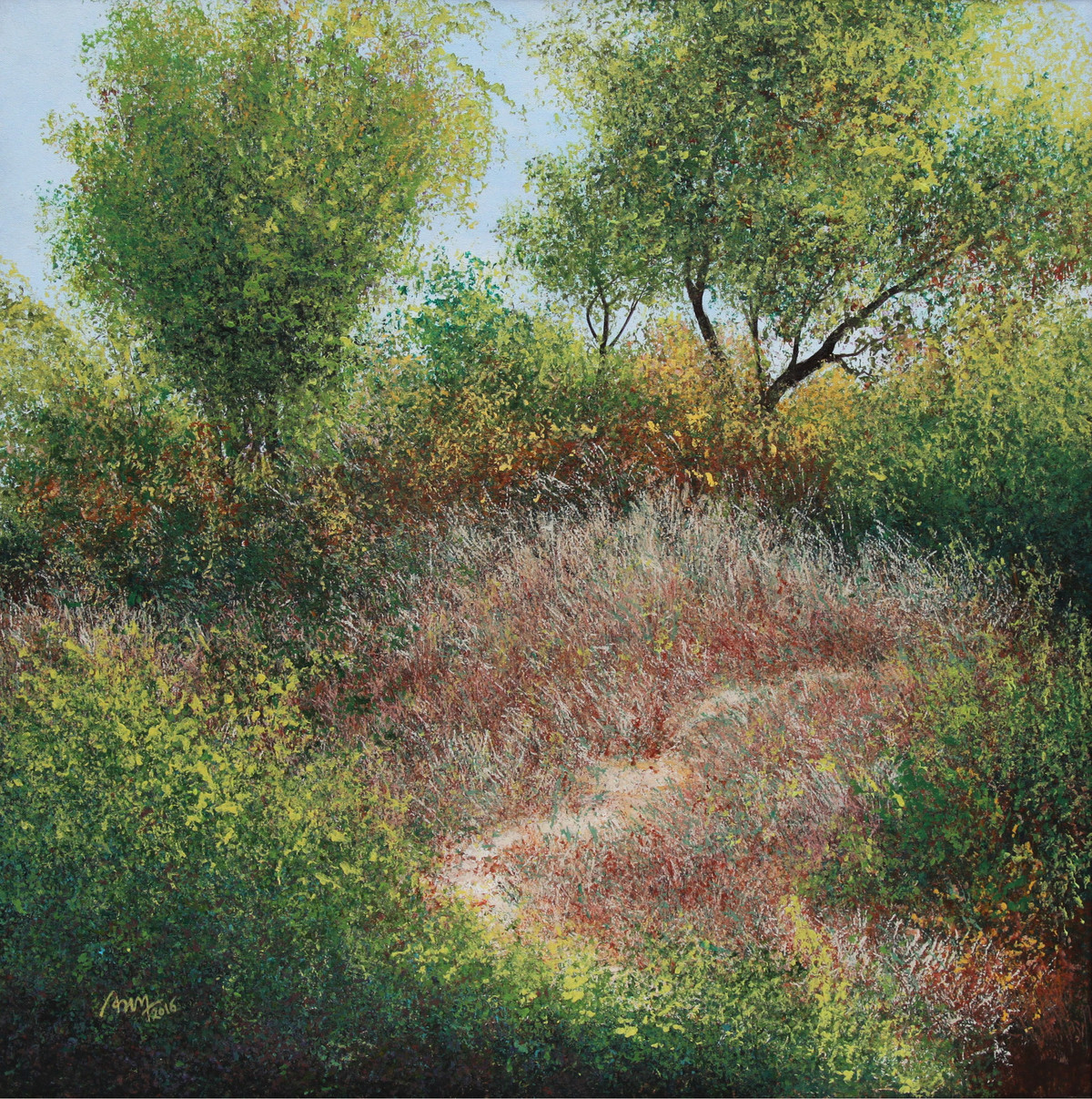 The Enchanted Forest by Vimal Chand, Impressionism Painting, Acrylic on Canvas, Green color