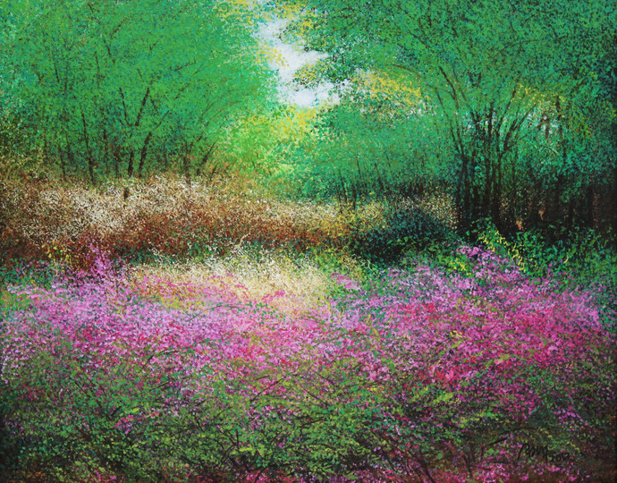 Woody Heaven by Vimal Chand, Impressionism Painting, Acrylic on Canvas, Green color