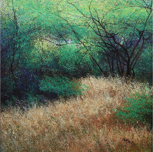 Secret Groves by Vimal Chand, Impressionism Painting, Acrylic on Canvas, Green color