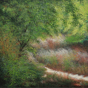 Jurassic Ferns by Vimal Chand, Impressionism Painting, Acrylic on Canvas, Green color