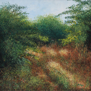 Forbidden Forest by Vimal Chand, Impressionism Painting, Acrylic on Canvas, Green color