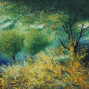 Hallucination of Beauty by Vimal Chand, Impressionism Painting, Acrylic on Canvas, Green color