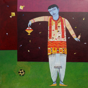 Man with kite by Bhaskar Lahiri, Expressionism Painting, Acrylic on Canvas, Brown color