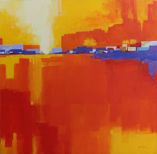 Urban City Landscape 02 by Gangu Gouda, Abstract Painting, Acrylic on Canvas, Red color