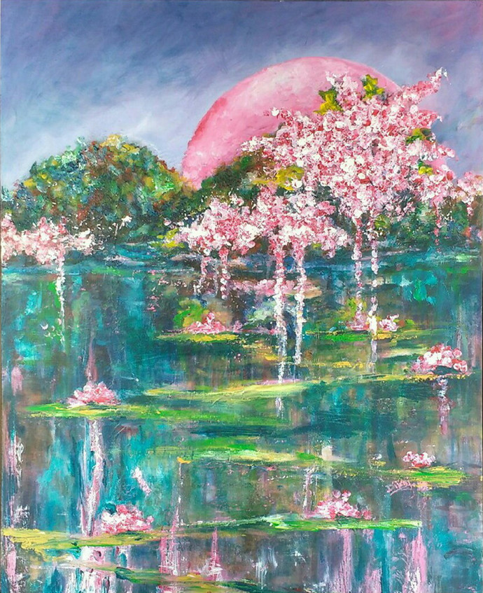 over the moon by dilraj kaur, Impressionism Painting, Acrylic on Canvas, Green color