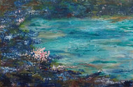 pink flowers by Dilraj Kaur, Impressionism Painting, Acrylic on Canvas, Green color