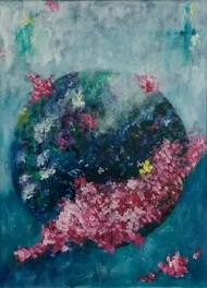 anant ki aur (iii) by dilraj kaur, Impressionism Painting, Acrylic on Canvas, Green color