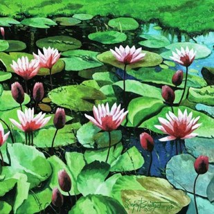 Lotus Pond (In search of peace) by Sanjay Bhattacharya, Impressionism Painting, Oil on Canvas, Green color