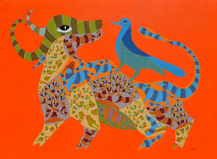 Untitled by Dhawat Singh Uikey, Tribal Painting, Acrylic on Canvas, Orange color