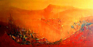 Untitled by Dnyaneshwar Dhavale , Abstract Painting, Acrylic on Canvas, Orange color