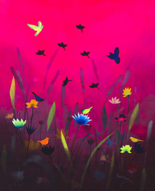 The Dawn by Priyanka Waghela, Expressionism Painting, Acrylic on Canvas, Pink color