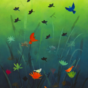 The Dance of lotus pond by Priyanka Waghela, Expressionism Painting, Acrylic on Canvas, Green color