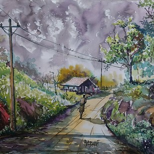 Untitled by Prabhakaran, Impressionism Painting, Watercolor on Paper, Brown color