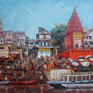 Varanasi by Iruvan Karunakaran, Expressionism Painting, Acrylic on Canvas, Brown color